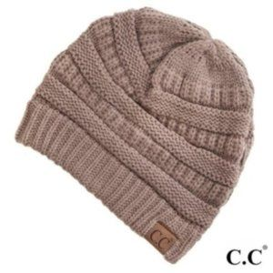 C.C Taupe Solid ribbed beanie
